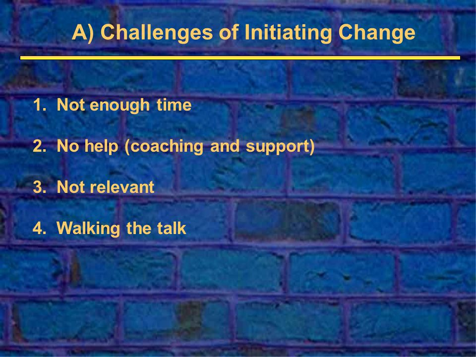 A) Challenges of Initiating Change 1.Not enough time 2.No help (coaching and support) 3.Not relevant 4.Walking the talk