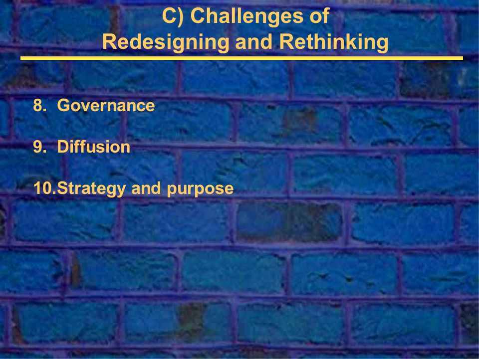 C) Challenges of Redesigning and Rethinking 8.Governance 9.Diffusion 10.Strategy and purpose