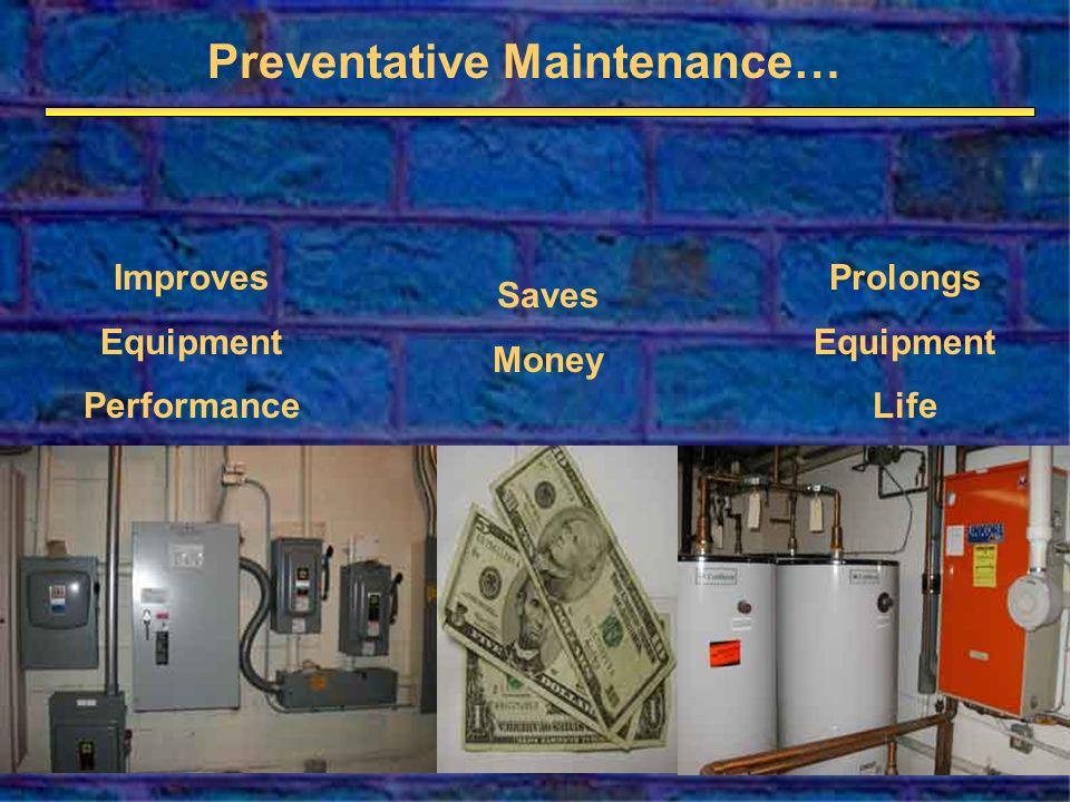 Preventative Maintenance… Saves Money Prolongs Equipment Life Improves Equipment Performance