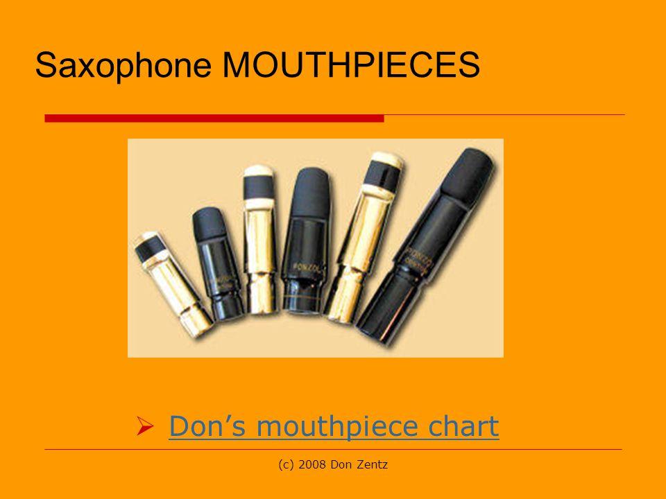(c) 2008 Don Zentz Saxophone MOUTHPIECES Dons mouthpiece chart