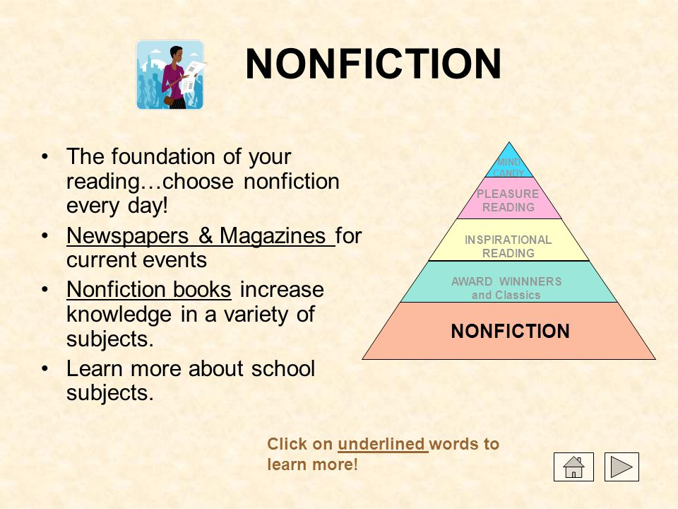 NONFICTION The foundation of your reading…choose nonfiction every day! Newspapers & Magazines for current eventsNewspapers & Magazines Nonfiction book