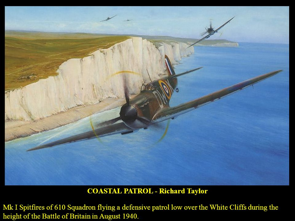 COASTAL PATROL - Richard Taylor Mk I Spitfires of 610 Squadron flying a defensive patrol low over the White Cliffs during the height of the Battle of Britain in August 1940.