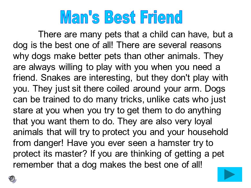 There are many pets that a child can have, but a dog is the best one of all! There are several reasons why dogs make better pets than other animals. T