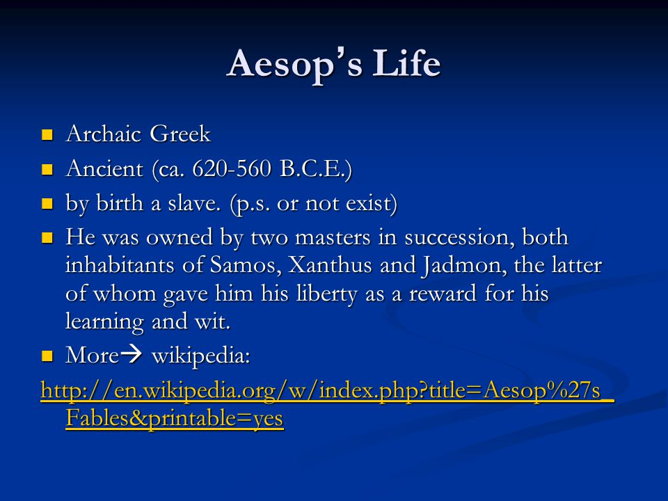 Aesop s Life Archaic Greek Archaic Greek Ancient (ca.