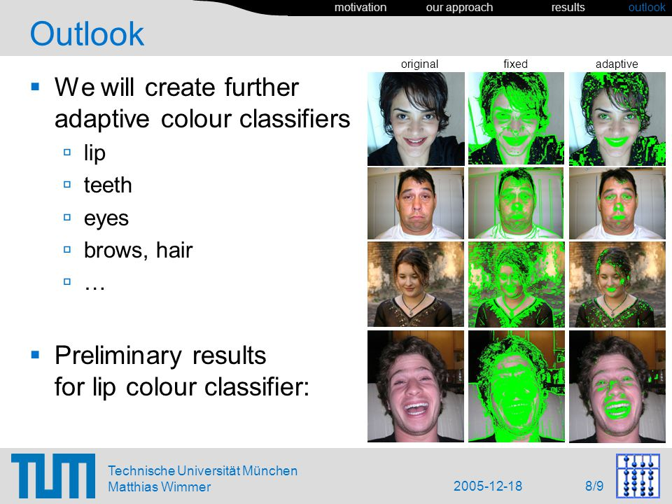 2005-12-18 8/9 Technische Universität München Matthias Wimmer Outlook We will create further adaptive colour classifiers lip teeth eyes brows, hair … Preliminary results for lip colour classifier: motivation our approach results outlook original fixed adaptive