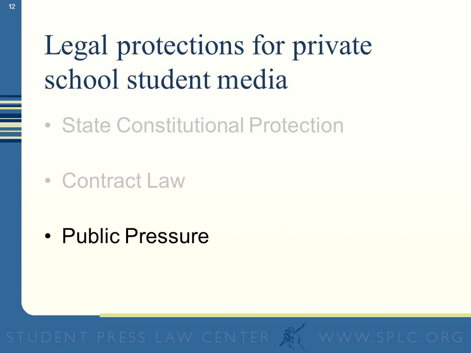 12 Legal protections for private school student media State Constitutional Protection Contract Law Public Pressure