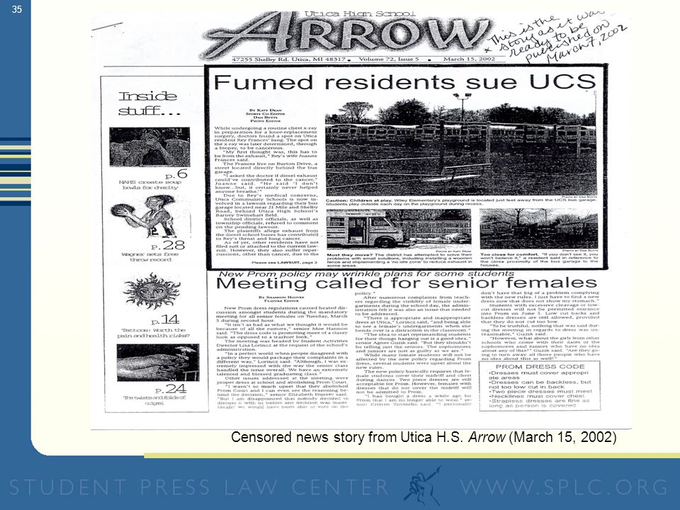 35 Censored news story from Utica H.S. Arrow (March 15, 2002)