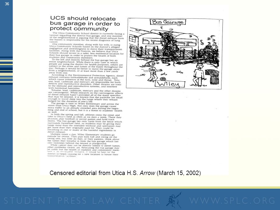 36 Censored editorial from Utica H.S. Arrow (March 15, 2002)