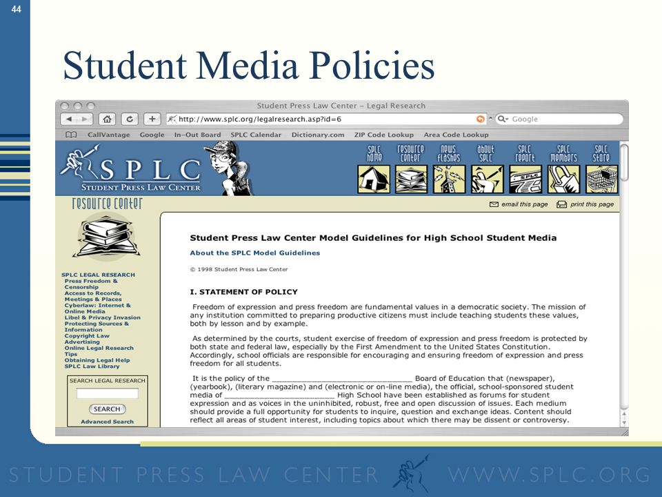 44 Student Media Policies