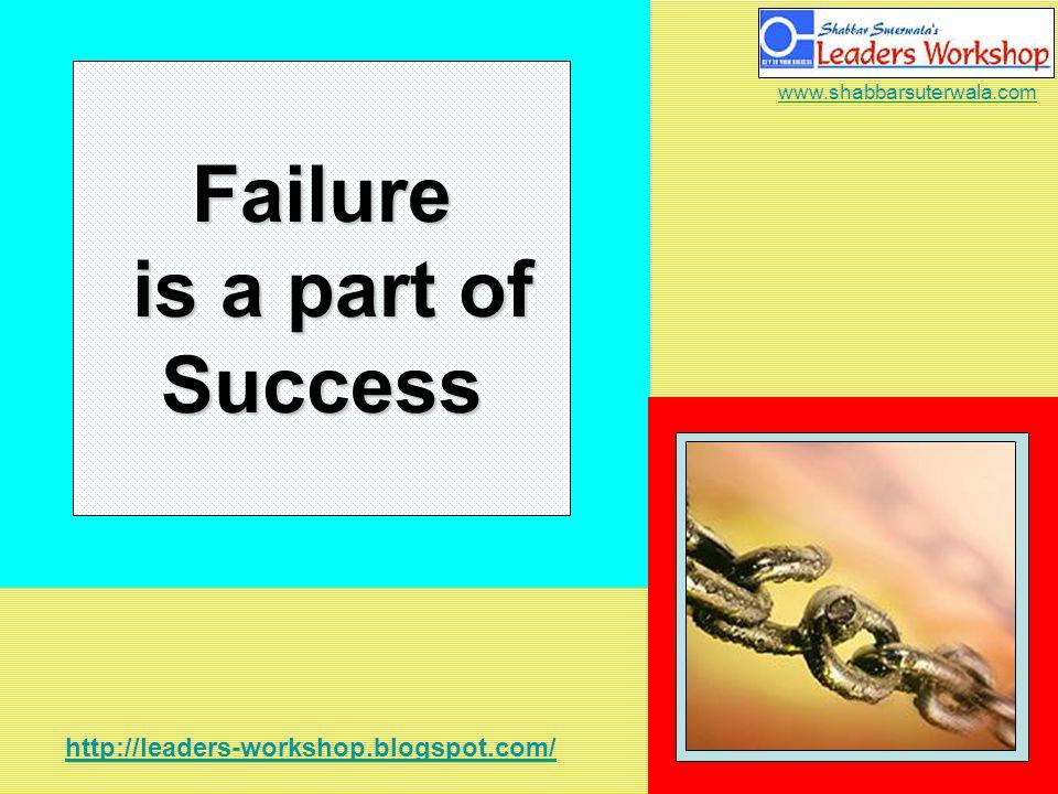 http://leaders-workshop.blogspot.com/ www.shabbarsuterwala.com Failure is a part of Success