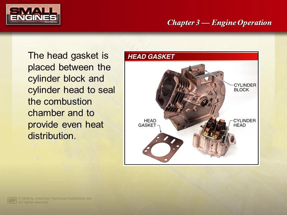 Chapter 3 Engine Operation The head gasket is placed between the cylinder block and cylinder head to seal the combustion chamber and to provide even heat distribution.