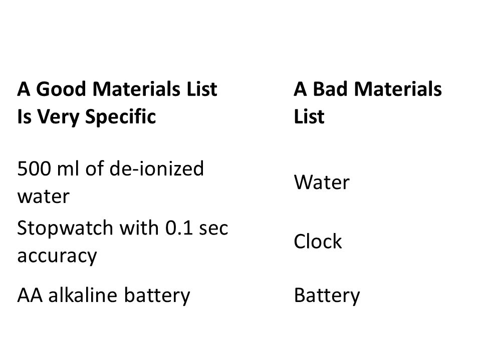 A Good Materials List Is Very Specific A Bad Materials List 500 ml of de-ionized water Water Stopwatch with 0.1 sec accuracy Clock AA alkaline batteryBattery
