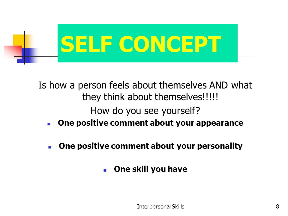 Interpersonal Skills8 SELF CONCEPT Is how a person feels about themselves AND what they think about themselves!!!!.
