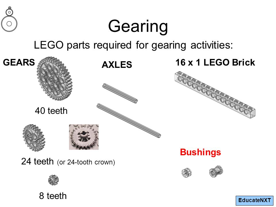 EducateNXT Gearing LEGO parts required for gearing activities: GEARS 24 teeth (or 24-tooth crown) 40 teeth 8 teeth AXLES 16 x 1 LEGO Brick Bushings