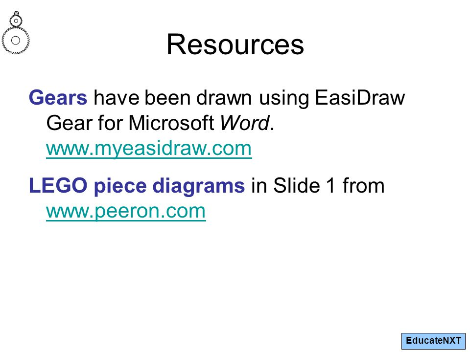 EducateNXT Resources Gears have been drawn using EasiDraw Gear for Microsoft Word.