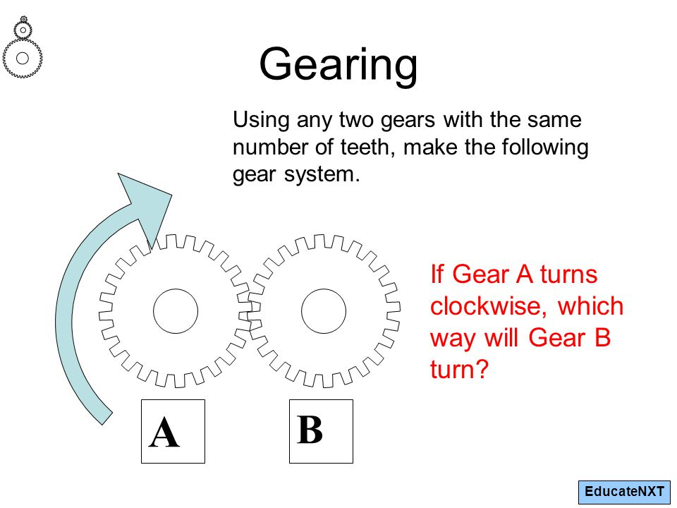 EducateNXT Gearing A B If Gear A turns clockwise, which way will Gear B turn? Using any two gears with the same number of teeth, make the following ge