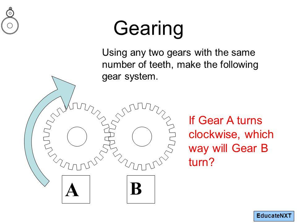 EducateNXT Gearing A B If Gear A turns clockwise, which way will Gear B turn.