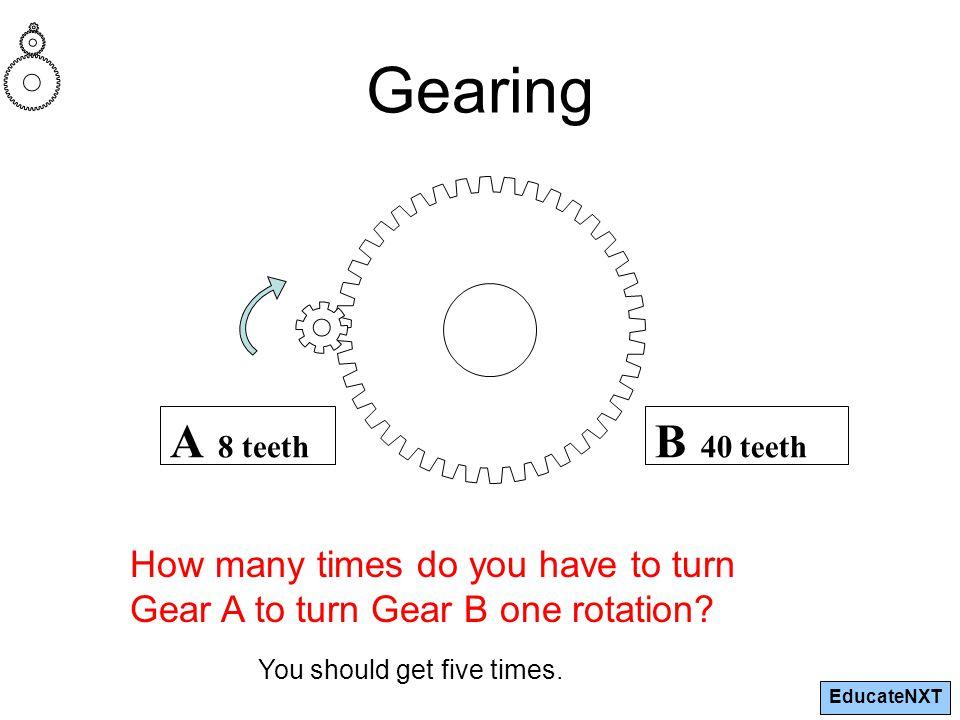 EducateNXT B 40 teeth A 8 teeth How many times do you have to turn Gear A to turn Gear B one rotation.