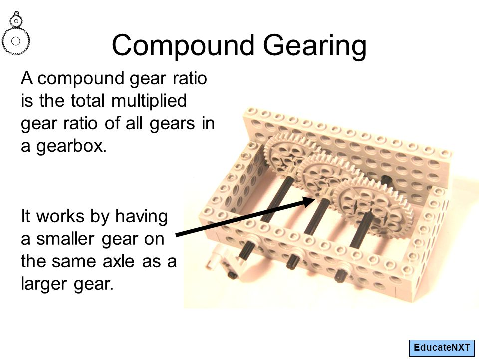 EducateNXT Compound Gearing A compound gear ratio is the total multiplied gear ratio of all gears in a gearbox. It works by having a smaller gear on t