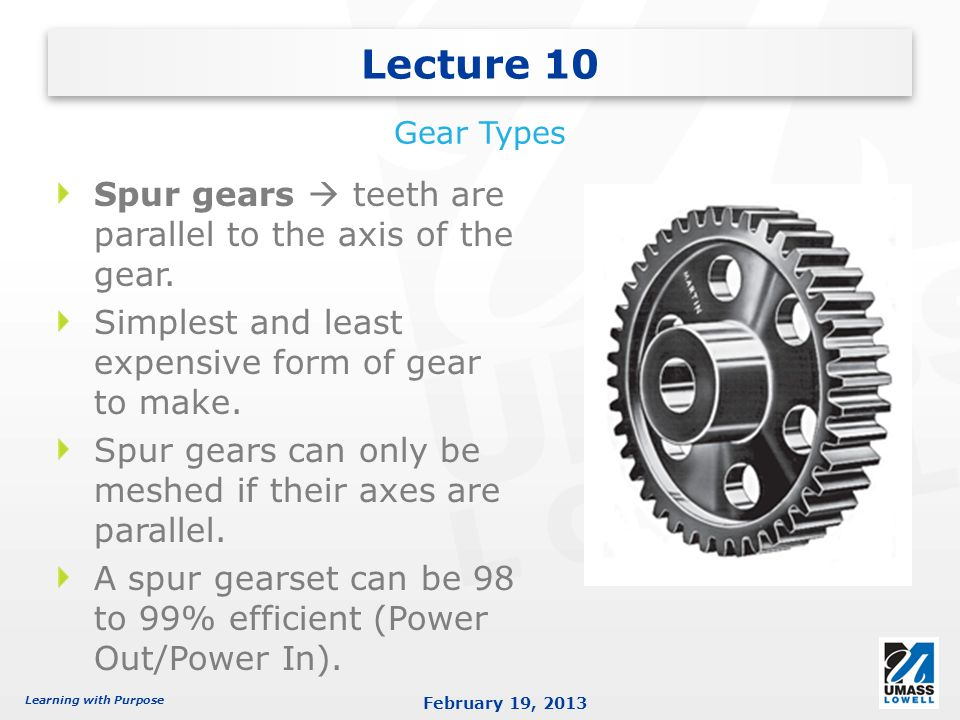 Learning with Purpose February 19, 2013 Helical gears are ones in which the teeth are at a helix angle with respect to the axis of the gear.