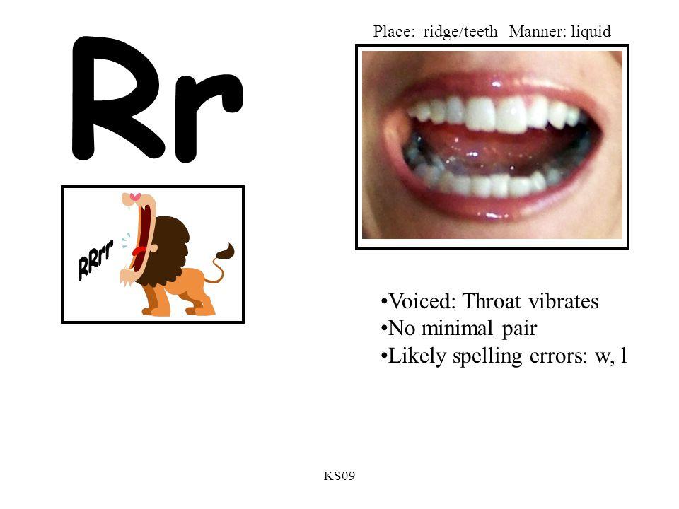 KS09 Rr Voiced: Throat vibrates No minimal pair Likely spelling errors: w, l Place: ridge/teethManner: liquid