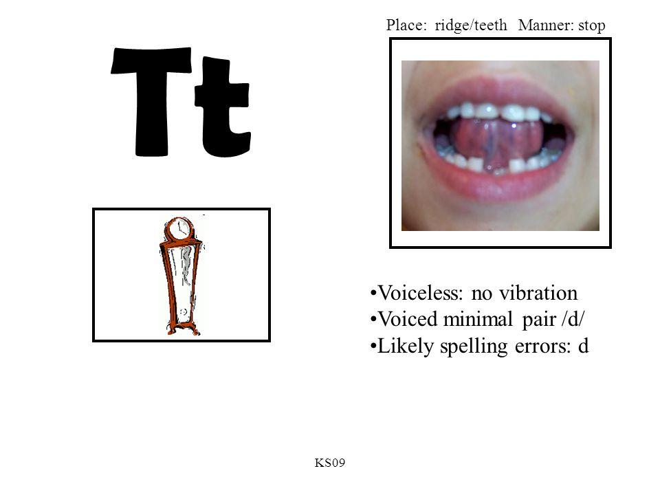 KS09 Tt Voiceless: no vibration Voiced minimal pair /d/ Likely spelling errors: d Place: ridge/teethManner: stop
