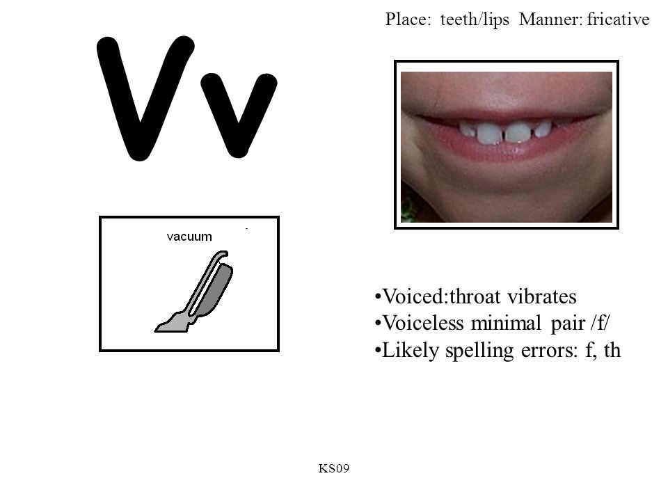 KS09 Vv Voiced:throat vibrates Voiceless minimal pair /f/ Likely spelling errors: f, th Place: teeth/lipsManner: fricative