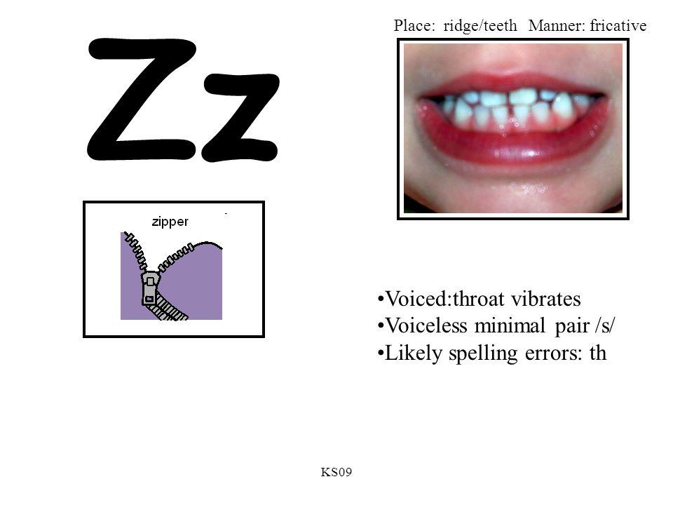 KS09 Zz Voiced:throat vibrates Voiceless minimal pair /s/ Likely spelling errors: th Place: ridge/teethManner: fricative