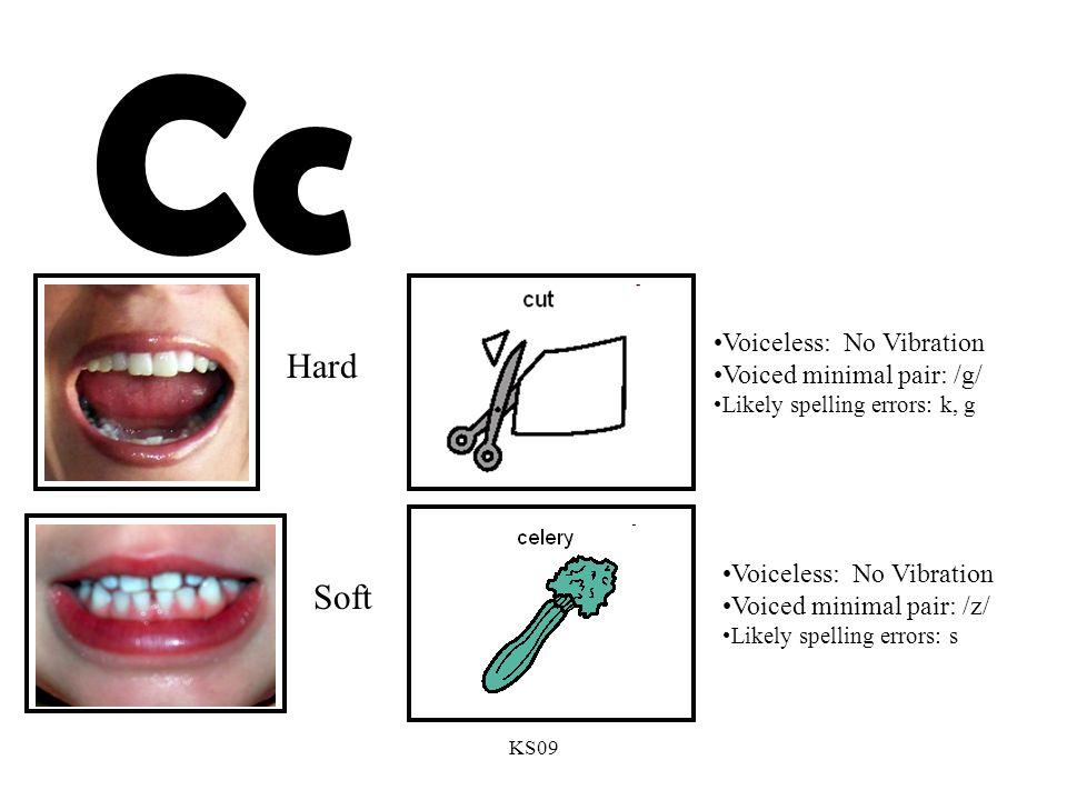 KS09 Cc Voiceless: No Vibration Voiced minimal pair: /g/ Likely spelling errors: k, g Voiceless: No Vibration Voiced minimal pair: /z/ Likely spelling