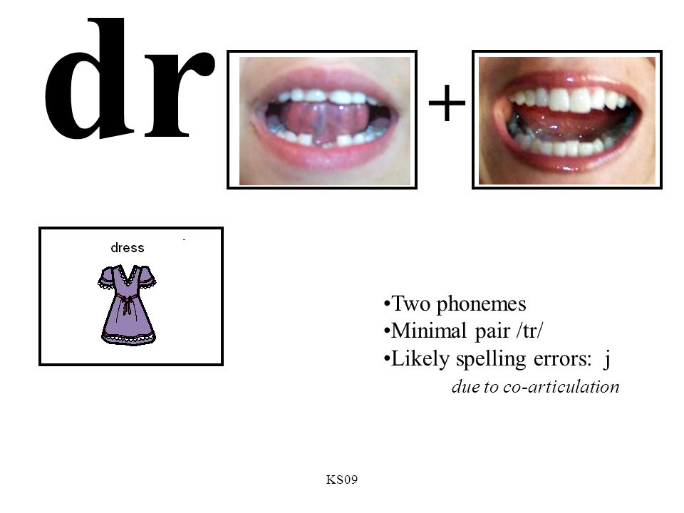 KS09 dr + Two phonemes Minimal pair /tr/ Likely spelling errors: j due to co-articulation