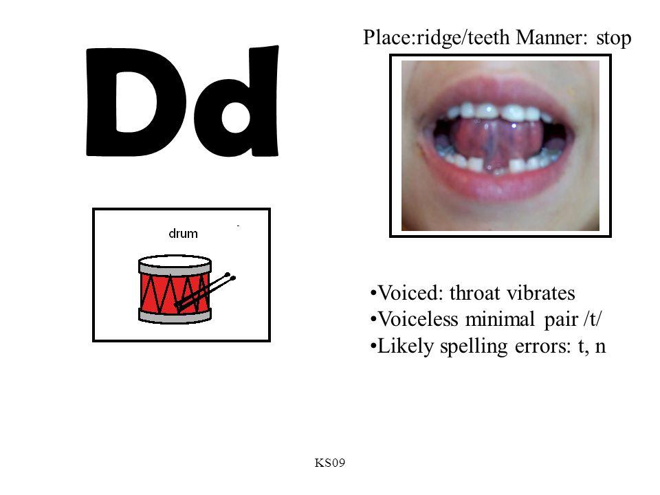 KS09 Dd Voiced: throat vibrates Voiceless minimal pair /t/ Likely spelling errors: t, n Place:ridge/teeth Manner: stop
