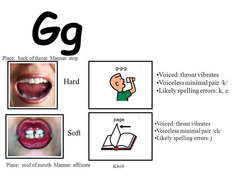 KS09 Gg Voiced: throat vibrates Voiceless minimal pair /k/ Likely spelling errors: k, c Voiced: throat vibrates Voiceless minimal pair /ch/ Likely spe