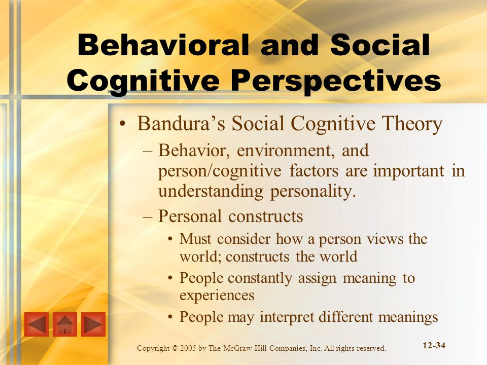 Copyright © 2005 by The McGraw-Hill Companies, Inc. All rights reserved. 12-34 Behavioral and Social Cognitive Perspectives Banduras Social Cognitive