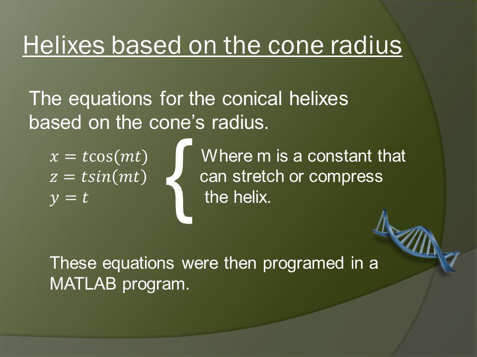 Helixes based on the cone radius {