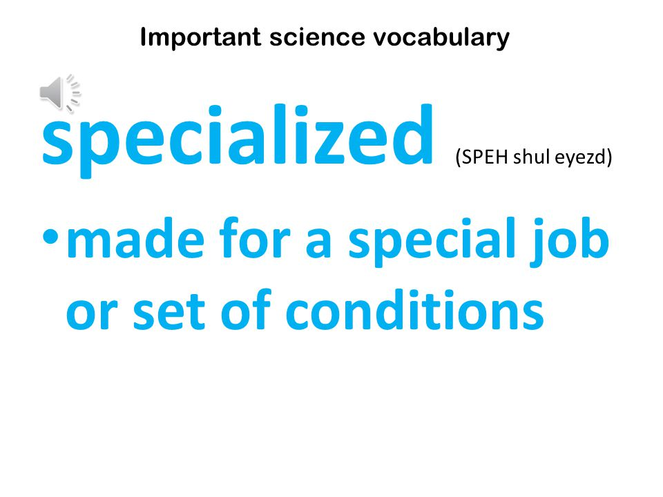 specialized (SPEH shul eyezd) made for a special job or set of conditions Important science vocabulary