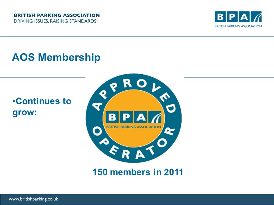 AOS Membership Continues to grow: 40 members in 2008 150 members in 2011