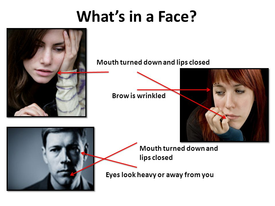 Eyes look heavy or away from you Brow is wrinkled Whats in a Face? Mouth turned down and lips closed
