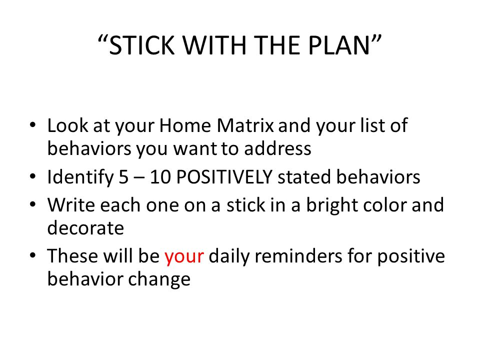 STICK WITH THE PLAN Look at your Home Matrix and your list of behaviors you want to address Identify 5 – 10 POSITIVELY stated behaviors Write each one on a stick in a bright color and decorate These will be your daily reminders for positive behavior change