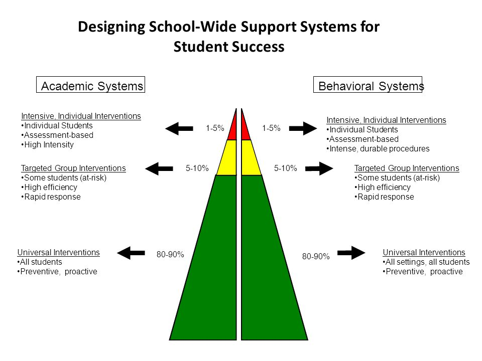 Academic SystemsBehavioral Systems 1-5% 5-10% 80-90% Intensive, Individual Interventions Individual Students Assessment-based High Intensity Intensive, Individual Interventions Individual Students Assessment-based Intense, durable procedures Targeted Group Interventions Some students (at-risk) High efficiency Rapid response Targeted Group Interventions Some students (at-risk) High efficiency Rapid response Universal Interventions All students Preventive, proactive Universal Interventions All settings, all students Preventive, proactive Designing School-Wide Support Systems for Student Success