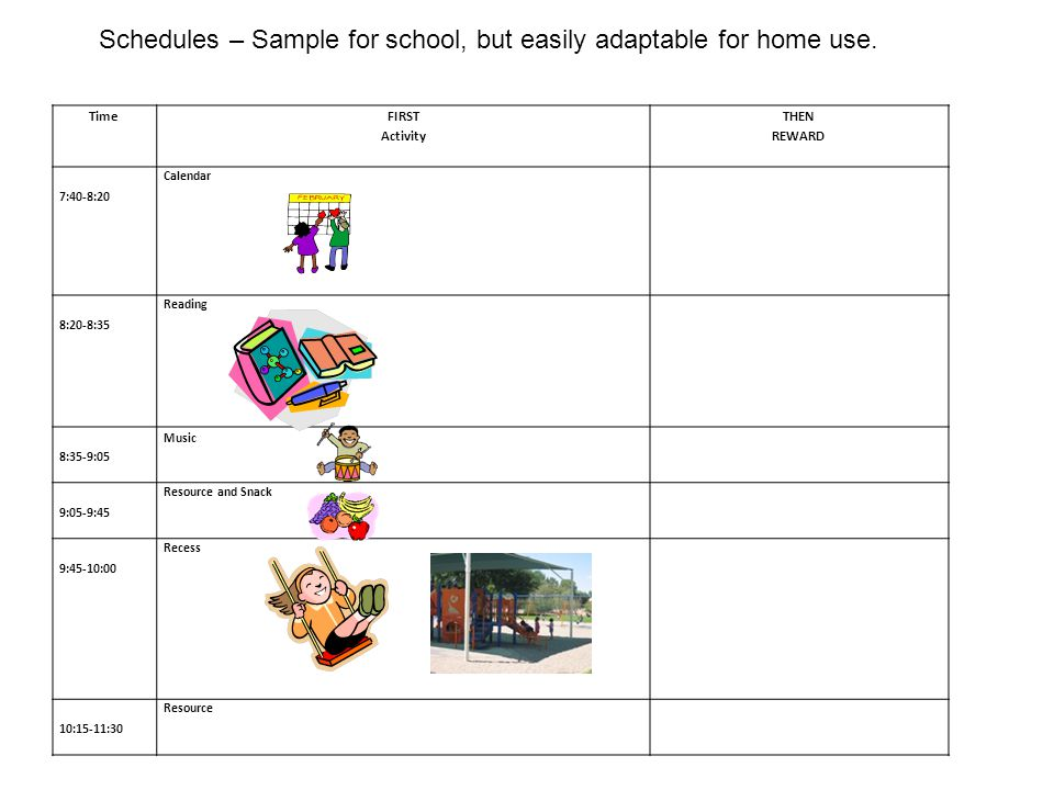 Schedules – Sample for school, but easily adaptable for home use.