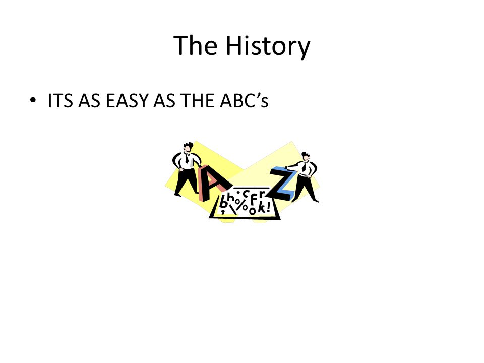 The History Start With The Basics Its as easy as ABC Or Rather P-Q-R-S-T