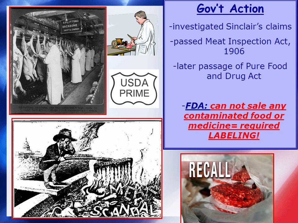 Govt Action -investigated Sinclairs claims -passed Meat Inspection Act, 1906 -later passage of Pure Food and Drug Act -FDA: can not sale any contaminated food or medicine= required LABELING!