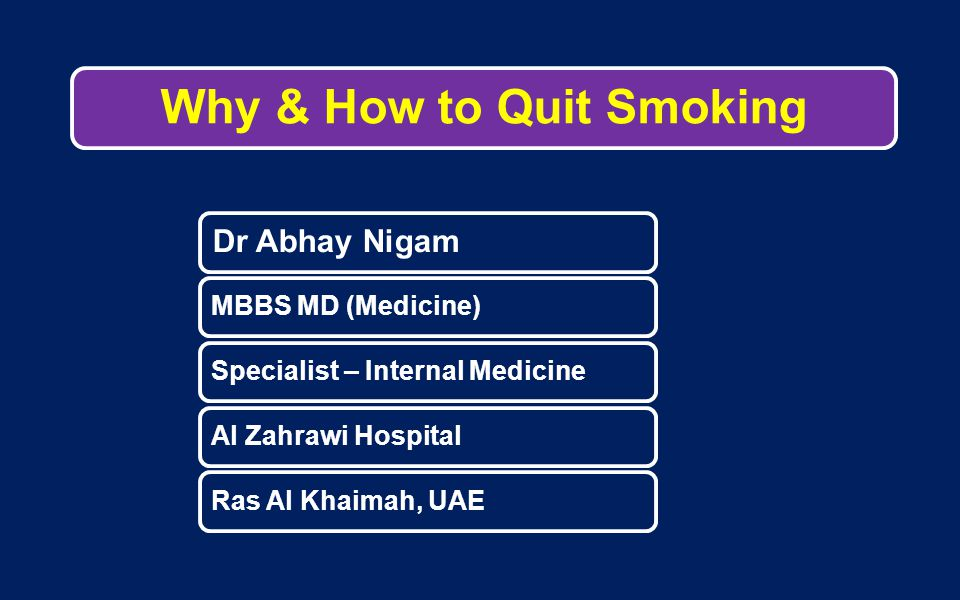 Why & How to Quit Smoking Dr Abhay Nigam MBBS MD (Medicine)Specialist – Internal MedicineAl Zahrawi HospitalRas Al Khaimah, UAE