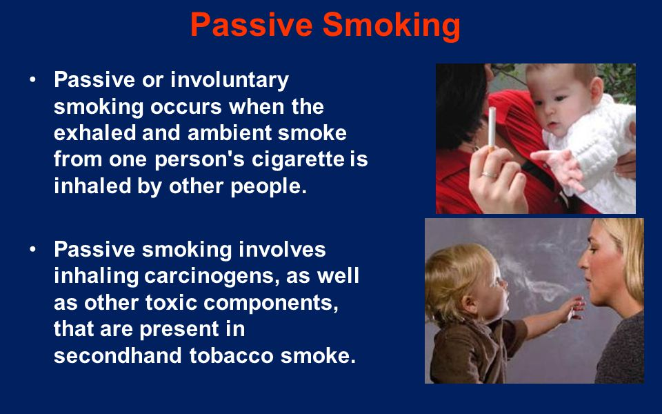 Passive Smoking Passive or involuntary smoking occurs when the exhaled and ambient smoke from one person's cigarette is inhaled by other people. Passi