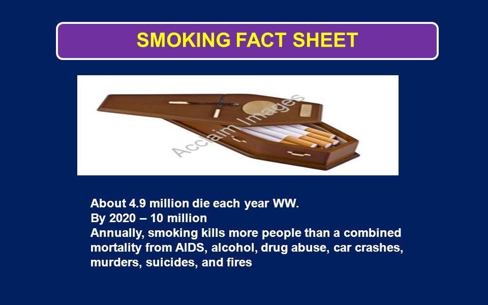 SMOKING FACT SHEET About 4.9 million die each year WW.