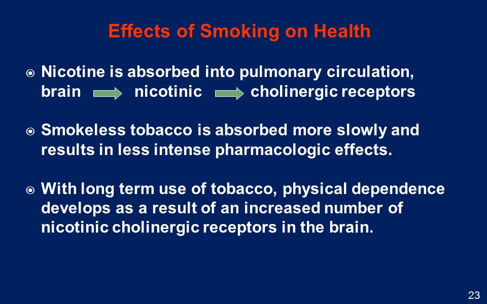 Nicotine is absorbed into pulmonary circulation, brain nicotinic cholinergic receptors Smokeless tobacco is absorbed more slowly and results in less i
