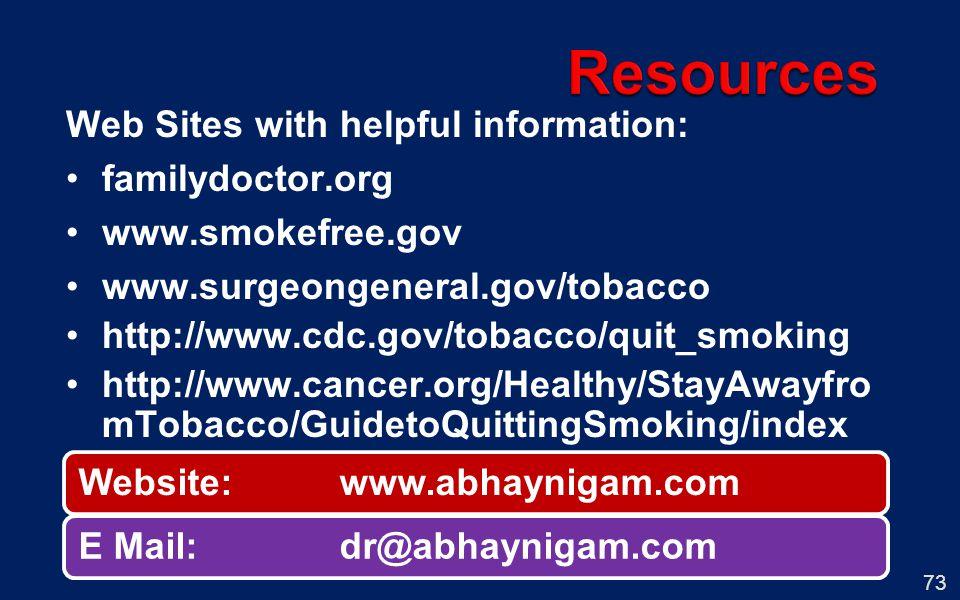 73 Web Sites with helpful information: familydoctor.org www.smokefree.gov www.surgeongeneral.gov/tobacco http://www.cdc.gov/tobacco/quit_smoking http: