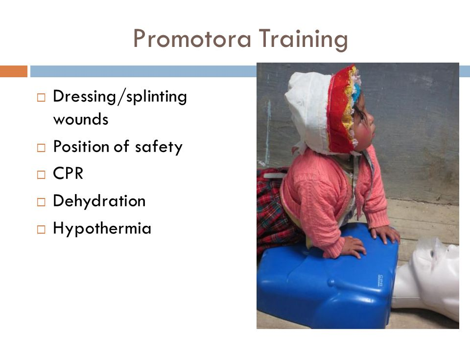 Dressing/splinting wounds Position of safety CPR Dehydration Hypothermia