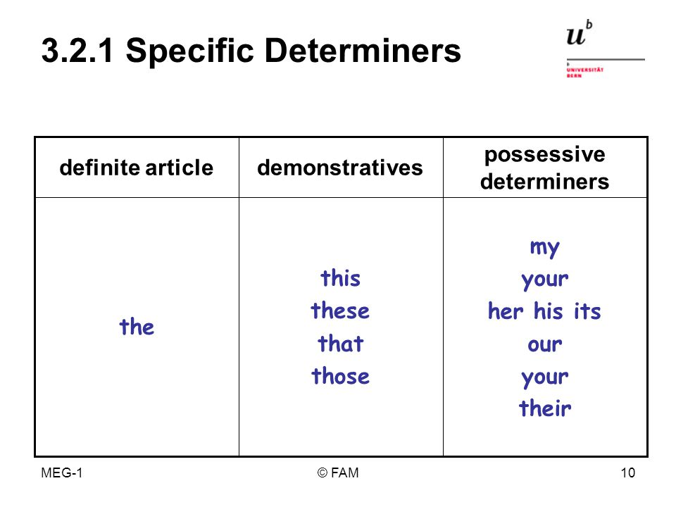 MEG-1© FAM9 3.1 Overview Determiners specific general definite article demon- stratives possessive determiners indefinite article quantifying determiners identifying determiners