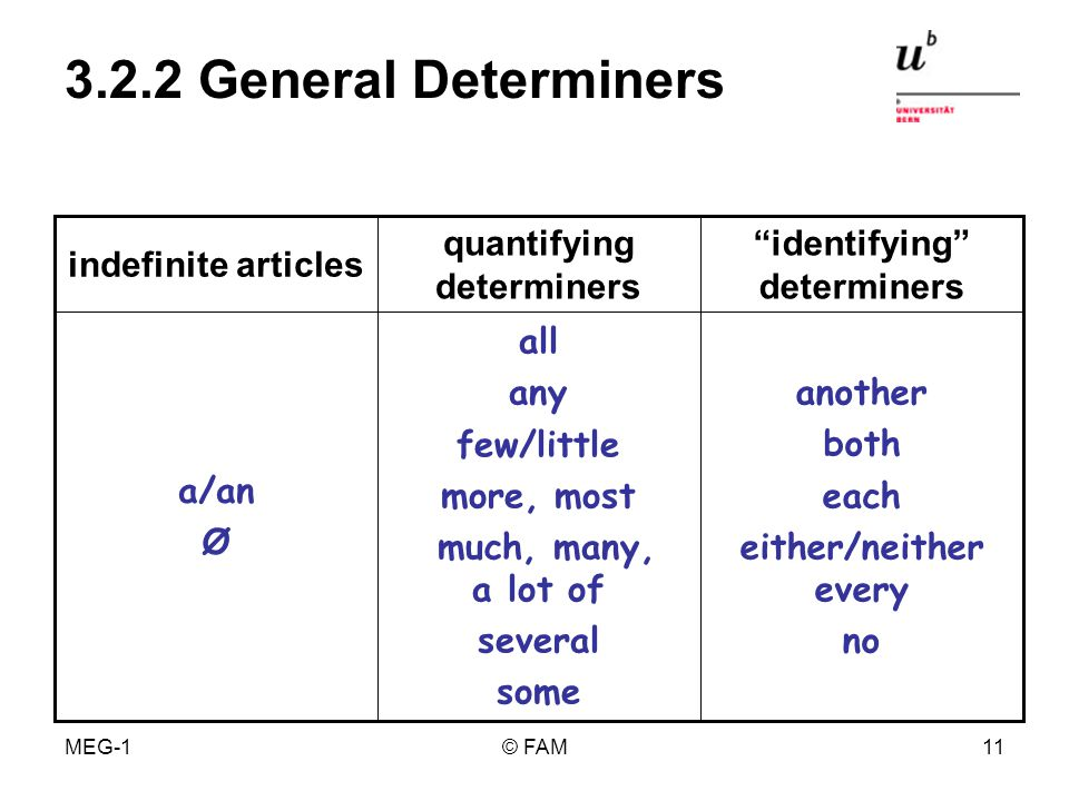 MEG-1© FAM10 3.2.1 Specific Determiners my your her his its our your their this these that those the possessive determiners demonstrativesdefinite article